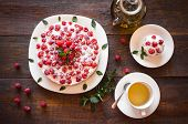 picture of teapot  - Appetizing vegetarian pie from protein jelly with fresh berries of raspberry and mint a teapot and a cup with green tea - JPG