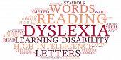 image of dyslexia  - Dyslexia word cloud on a white background - JPG