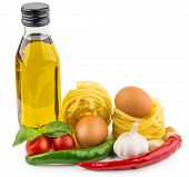 picture of glass noodles  - Olive oil Italian noodles tomatoes garlic and basil isolated on white background - JPG