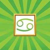 stock photo of cancer horoscope icon  - Image of Cancer zodiac symbol in golden frame - JPG