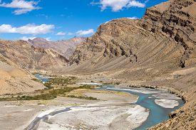stock photo of himachal  - Himalayan landscape in Himalayas along Manali - JPG