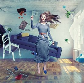 pic of zero  - young beautiful lady fly in zero gravity room - JPG
