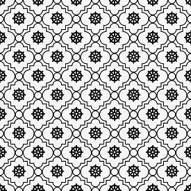 picture of dharma  - Black and White Wheel of Dharma Symbol Tile Pattern Repeat Background that is seamless and repeats - JPG