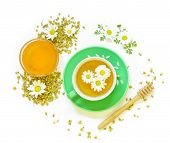 Постер, плакат: Chamomile Tea And Honey Isolated On White Background