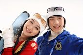 stock photo of winter sport  - Couple in Winter Sports - JPG