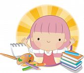 image of girl reading book  - Reading Book Together - JPG