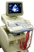 modern ultrasound medical device with heart image