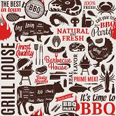 Typographic Vector Barbecue Seamless Pattern Or Background poster