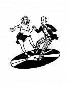 stock photo of jive  - Retro Dancers On A Vinyl Record  - JPG
