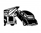 Car Being Towed - Retro Clipart Illustration