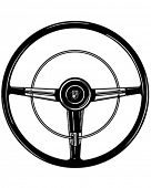Retro Steering Wheel - Clipart Illustration