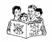 stock photo of homemaker  - Family Reading Book  - JPG