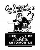 Liability - Life Fire Automobile - Retro Ad Art Banner