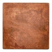 Aged copper plate texture, old worn metal background. poster
