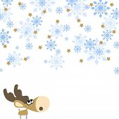 illustration of a cute little deer, looking at a snowfall