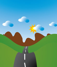 stock photo of long winding road  - Winding road traveling to long lost places - JPG