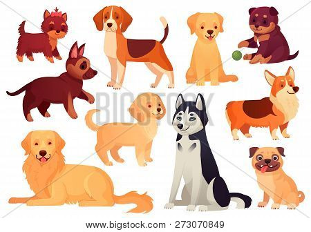 poster of Cartoon Puppy And Dog. Happy Puppies With Smiling Muzzle, Loyal Dogs And Friendly Dog Isolated Vecto