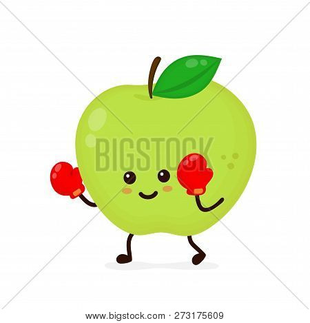 Cute Smiling Strong Apple Fighting