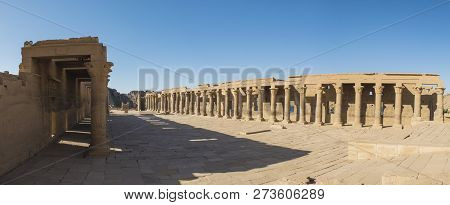 Panoramic View Across Hieroglypic Carvings