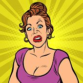 Woman With A Funny Surprised Face. Comic Cartoon Pop Art Retro Vector Illustration Drawing poster