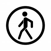 No Walking Sign. Prohibited Black Road Sign Isolated On White Background. Pedestrian Sign. Stop Entr poster