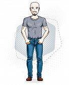 Handsome Hairless Young Man Poses On Modern Background. Vector Illustration Of Male With Beard And M poster