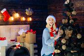 Christmas Interior. Funny Christmas Girl. Winter Holidays And People Concept. True Emotions. Funny.  poster