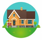 Vector Illustration Cartoon Concept For Sale House. Image Townhouse In Home For Sale Concept. Countr poster