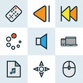 Music Icons Colored Line Set With Previous, Controller, Gadget And Other Previous Elements. Isolated poster