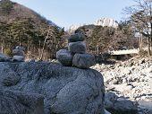 Balance Stones Standing On Top Of Each Other In Mountains Seoraksan, Seoraksan poster