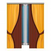 Elegant Window Curtains Icon. Cartoon Of Elegant Window Curtains Vector Icon For Web Design Isolated poster
