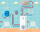 Plumbing In House. Water Supply Concept. Modern Technology In Plumbing. Battery And Heating At Home. poster