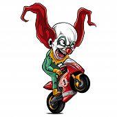 Vector Illustration Joker Biker Motorcycle Rider Racing poster