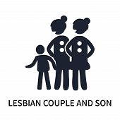 Lesbian Couple And Son Icon Isolated On White Background. Lesbian Couple And Son Icon Simple Sign. L poster