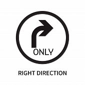 Right Direction Icon Isolated On White Background. Right Direction Icon Simple Sign. Right Direction poster
