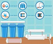 Water Purification Filters And Filtration System. Water Treatment Plant Concept. Destruction Bacteri poster