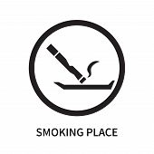 Smoking Place Icon Isolated On White Background. Smoking Place Icon Simple Sign. Smoking Place Icon  poster