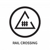 Rail Crossing Icon Isolated On White Background. Rail Crossing Icon Simple Sign. Rail Crossing Icon  poster