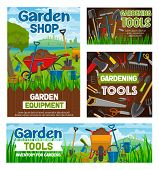 Garden Shop And Gardening Agriculture Equipment Tools. Vector Farm Spade, Rake Or Pitchfork And Whee poster