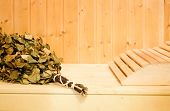 Russian Or Finnish Sauna Broom And Headrest In Wooden Sauna. Steam Bath With Broom Hot Steam poster