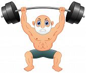 Vector Illustration Cartoon A Old Man Weightlifting poster