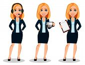Business Woman In Office Style Clothes, Set Of Three Poses. Modern Lady Businesswoman Wearing Headse poster