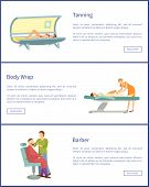 Tanning, Body Wrap And Barber Shop Web Posters In Spa Salon. Cosmetic Procedures For People Taking C poster