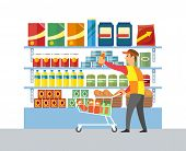 Supermarket Store Worker Merchandising Vector. Man With Products Putting Sausage On Place. Packages  poster