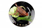 Постер, плакат: пикантные мяса: жаркое из ребра на Жесть черная с перцем и луком