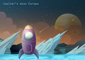 Jupiter Galilean Moon Or Europa Satellite With Spaceship And Ice. Rocks Or Mountain On Space Land Wi poster