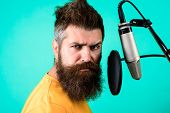 Brutal Bearded Singer With Microphone On Stage. Bearded Man Singing With Microphone. Concertμsic C poster