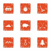 Mountain Path Icons Set. Grunge Set Of 9 Mountain Path Icons For Web Isolated On White Background poster