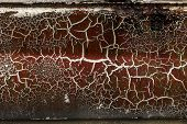 Background Of Old Cracked Paint. Large Cracks On The Surface. Close The Layers; Many Paint And Paper poster