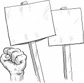 pic of freedom speech  - Doodle style picket or protest illustration in vector format - JPG